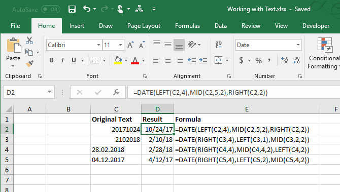 excel text functions - Convert text to dates