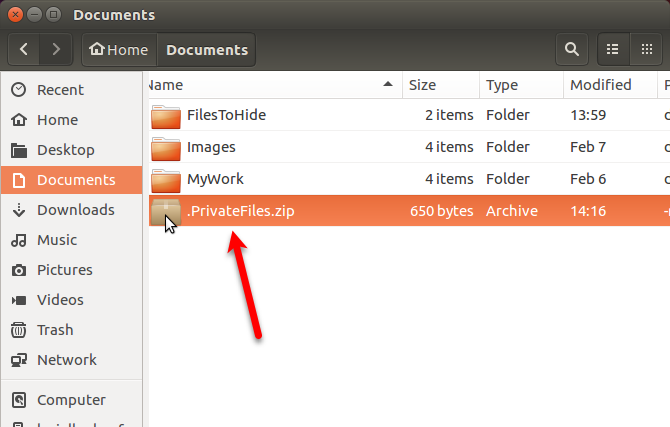 Hidden ZIP file shown in Nautilus in Ubuntu