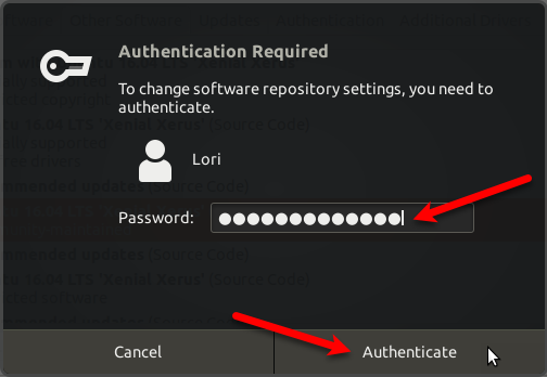 Authenticate for re-enabling third-party sources