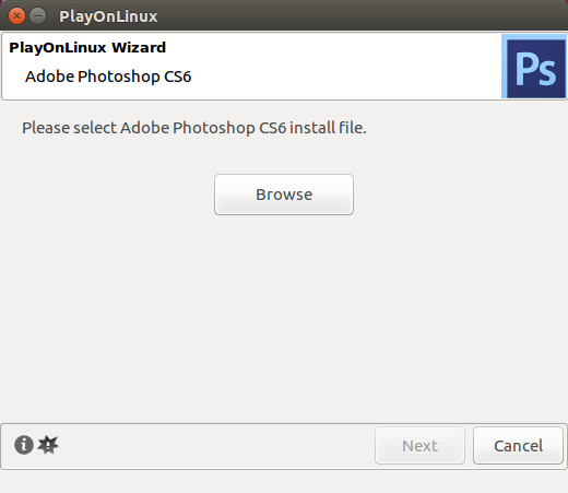 How to Install Adobe Photoshop on Linux - Browse for your file
