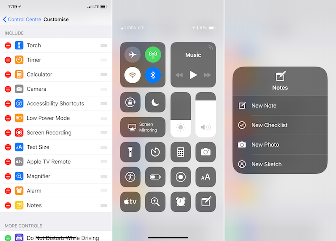 Apple Notes Features - Control Center Shortcut