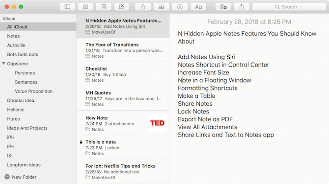 Apple Notes Features - Font Size