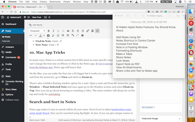Apple Notes Features - Mac Floating Window