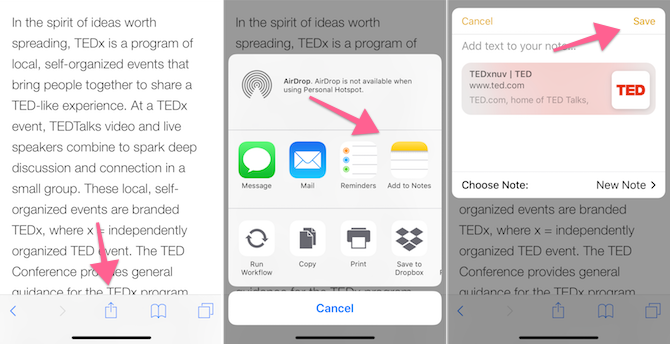Apple Notes Features - Save To Notes