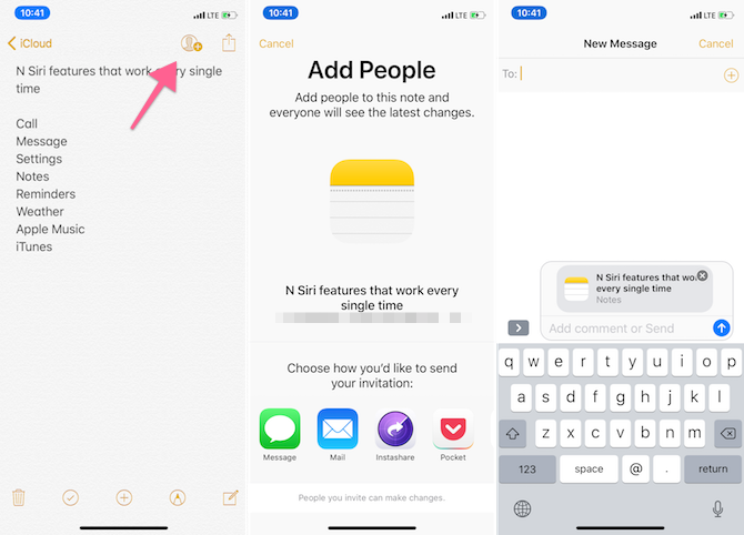 Apple Notes Features - Share Notes