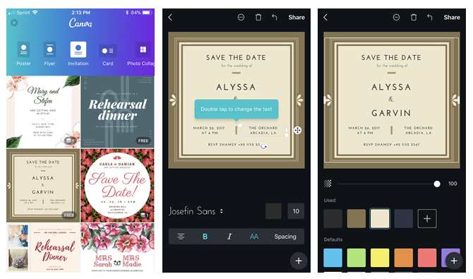 create your own wedding invitations with canva for mobile