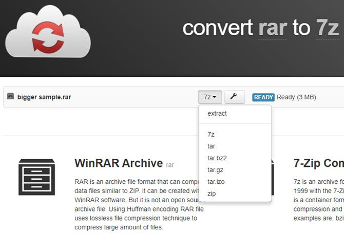 CloudConvert RAR
