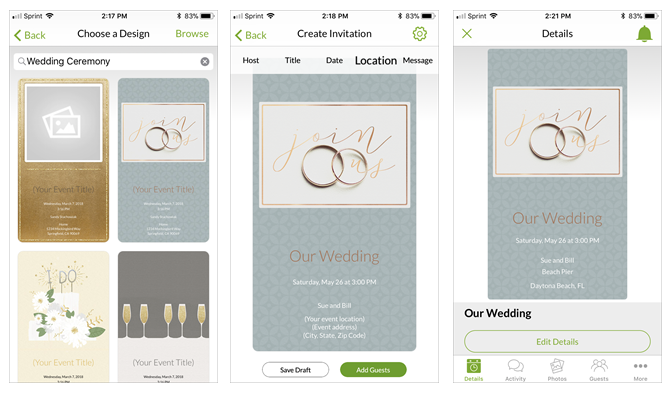 6 digital wedding invitation apps to save money and time create your own wedding invitations with evite for mobile stopboris Images