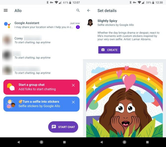 Google Allo Home and Stickers