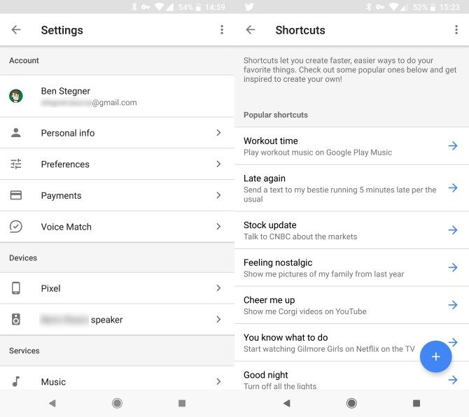 Google Assistant Settings