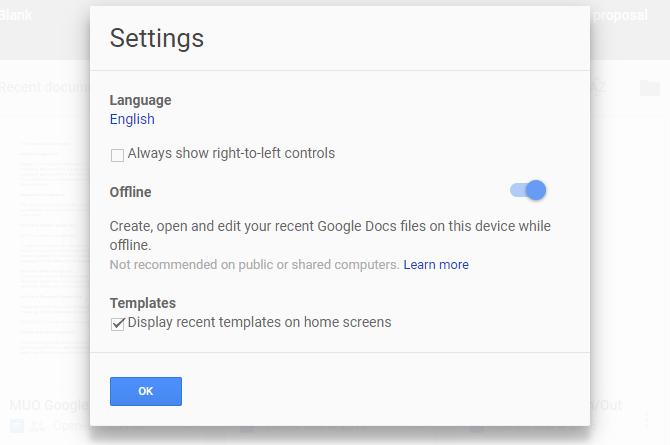 Offline in Google Docs