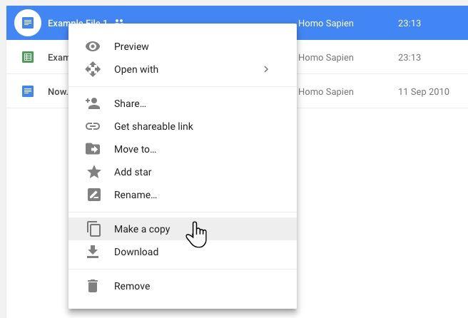 Google Drive Make a Copy