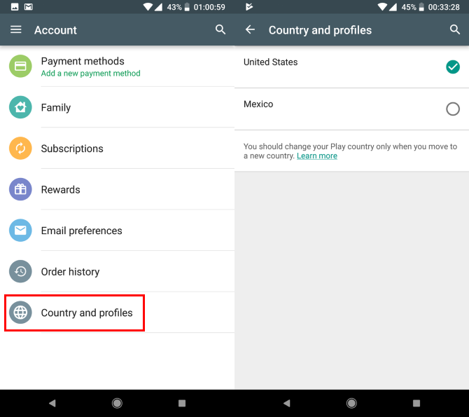 Change Play Store Country Android