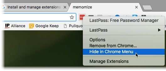 Hiding a Chrome extension from the menu bar