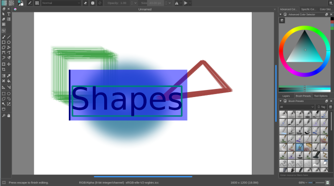 how to use krita- shapes