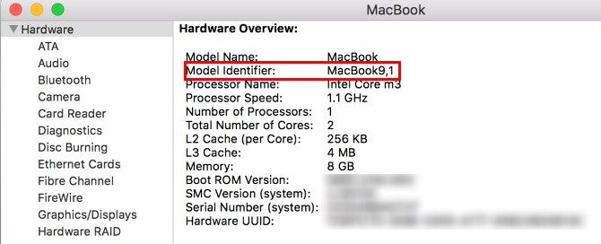 Идентификатор модели MacBook