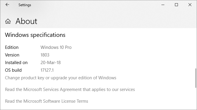 Windows Specifications Edition Version