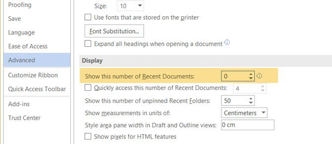 Disable the Recent Documents List in Word 2016