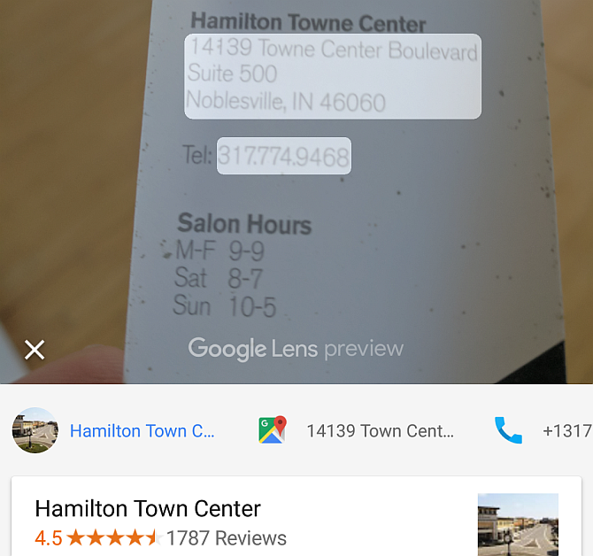 Google Lens Scan Business Card