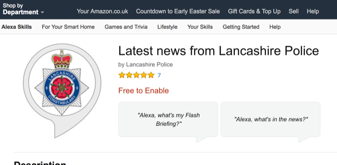 Latest new from Lancashire Police Alexa skill