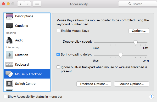 macbook keyboard not working- Mouse Keys