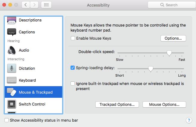 macbook keyboard not working- Mouse Keys