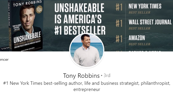 Tony Robbins LinkedIn cover photo