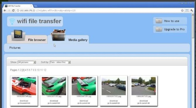 wiFi transfer app interface on web