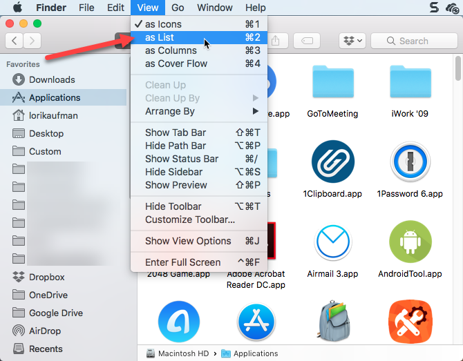 show applications folder as a list in finder