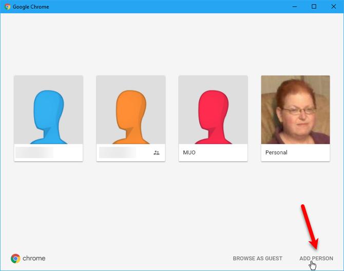 Click Add person on Profiles dialog box in Chrome