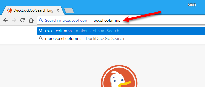 Search site using address bar in Chrome