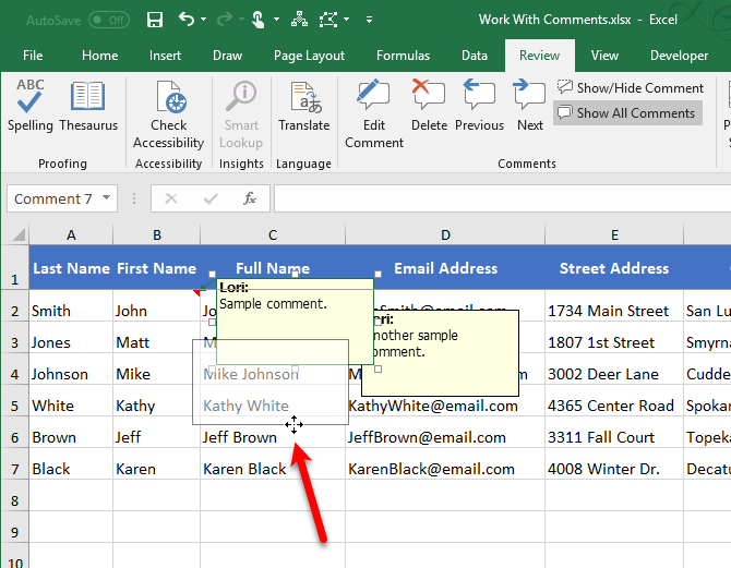 Move a comment in Excel