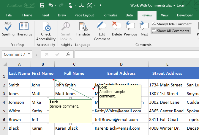 Excel Comment moved