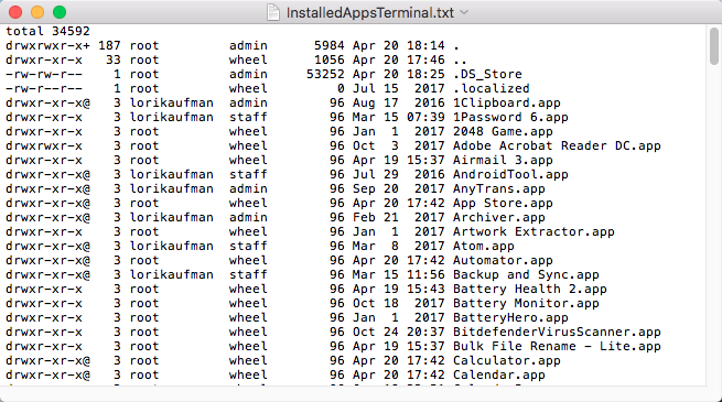 Installed apps list from Applications folder using Terminal