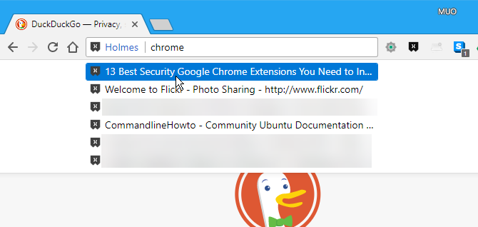 Search Chrome bookmarks using Holmes in the address bar