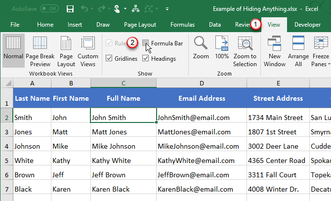 Hide the Formula Bar using the View tab in Excel