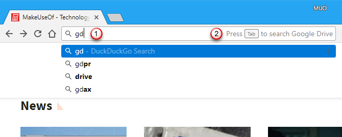"Type ""gd"" keyword and press Tab in Chrome's address bar"