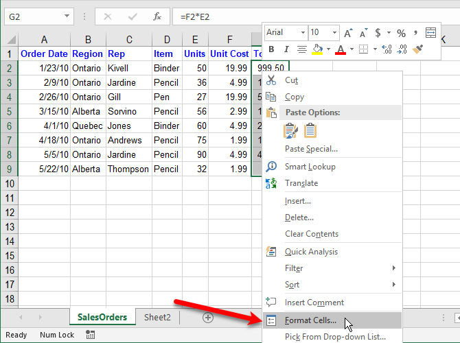 Select Format Cells to hide formulas in Excel