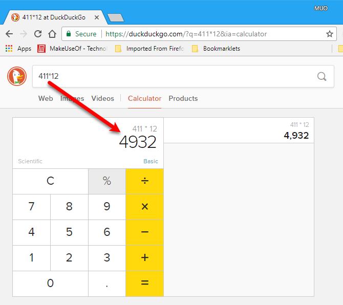 Calculator in DuckDuckGo
