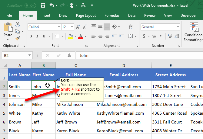 Comment text formatted in Excel