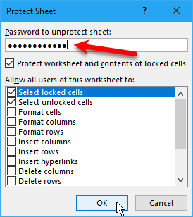 Protect Sheet dialog box in Excel