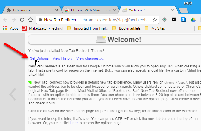 Set Options for New Tab Redirect extension in Chrome