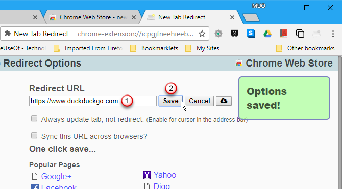 Enter URL in New Tab Redirect options in Chrome
