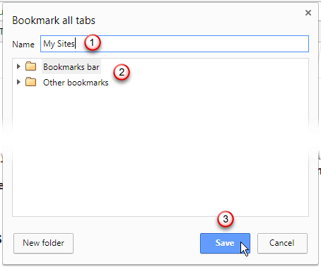 Bookmark all tabs dialog box in Chrome