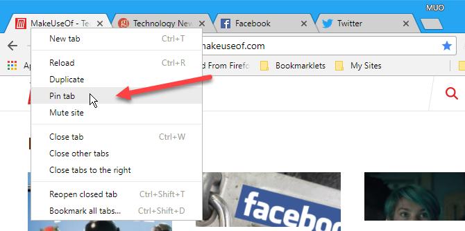 Select Pin tab in Chrome