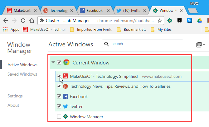 Select tabs on Active Windows in Cluster