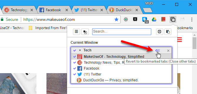 Revert to bookmarked tabs in Tabli