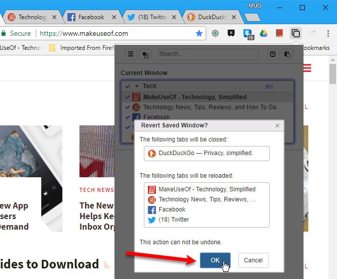 Revert Saved Window dialog box in Tabli