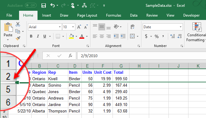 Rows hidden in Excel