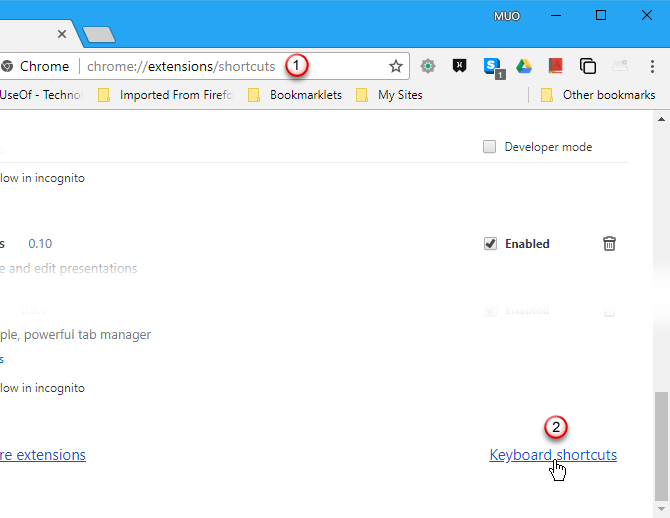 Click Keyboard shortcuts on Extensions page in Chrome